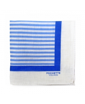 White Linen Pocket Square With Blue Stripes