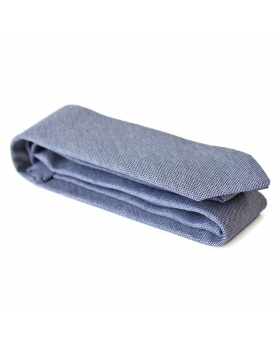 Cravate Coton faux-uni bleu