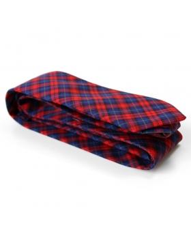 Cravate Coton Tartan Rouge et Bleu Made in France