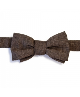 Handmade in France Brown Linen Bow Tie