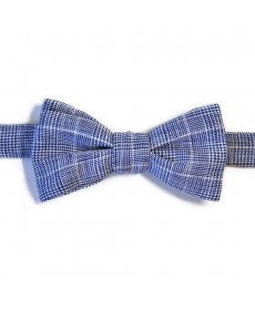 Handmade Blue Linen Bow Tie Checks Pattern