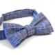 Noeud Papillon Fait Main Bleu Lin Carreaux Made in France