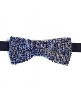 Blue Cotton Knit Bow Tie