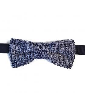 Noeud Papillon Bleu Tricot Coton Chiné