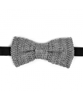 Grey Cotton Knit Bow Tie