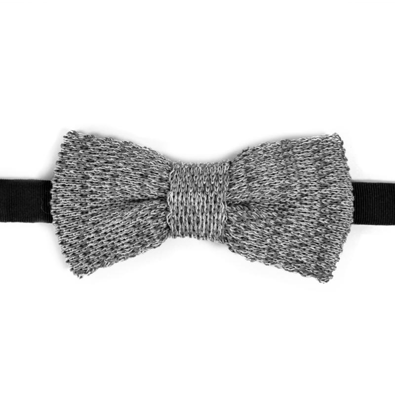 noeud papillon tricot de coton gris faux uni chin confectionn en italie. Black Bedroom Furniture Sets. Home Design Ideas