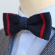 Navy Blue Striped Red Knit Bow Tie Cotton