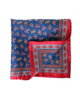 Pochette bleue paisleys liseré rouge