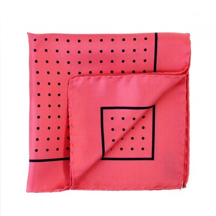 Pink Silk Pocket Square Blue Dots