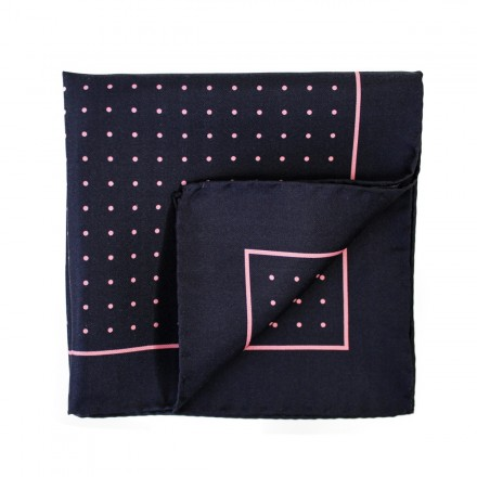 navy pocket square with pink polka dots