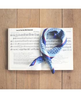 Foulard Gavroche Soie Bleu
