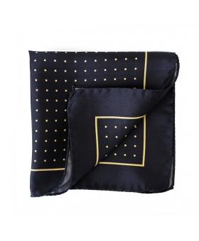 pochette de costume en soie marine a pois jaunes