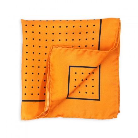 pochette de costume en soie orange a pois marine