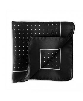 pochette de costume en soie noire a pois blanc