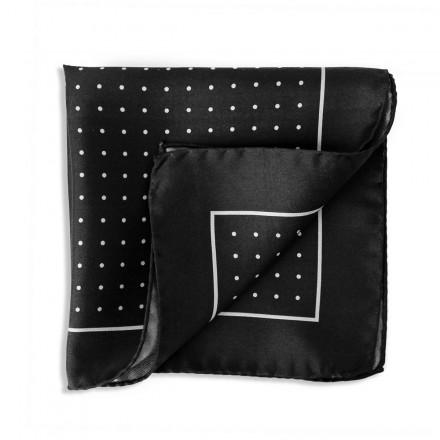 black silk pocket square with white polka dots