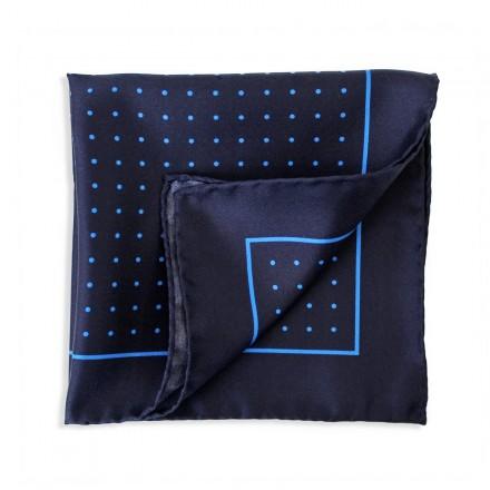 navy pocket square with light blue polka dots