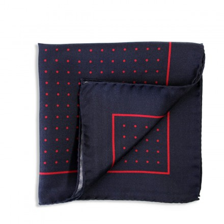 navy pocket square with red polka dots