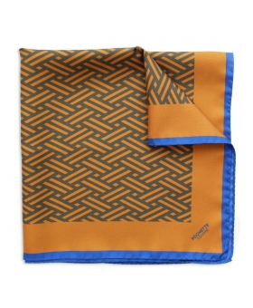 Brown and Blue Silk Scarf