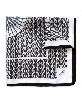 foulard en soie noir et blanc
