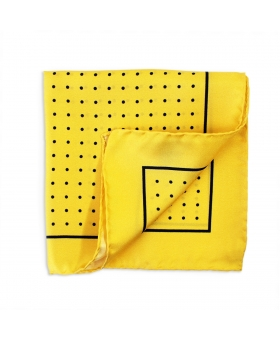 pochette de costume en soie jaune a pois marine
