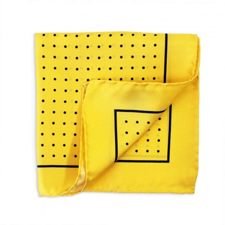 Yellow Silk Pocket Square Blue Dots