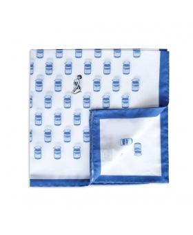 pochette de costume pour veste en coton blanc liseré bleu