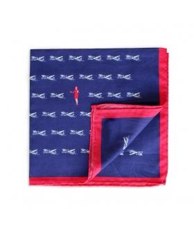 pochette de costume en coton bleu liseré rouge