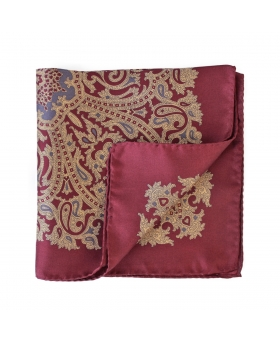 burgundy 100% silk pocket square