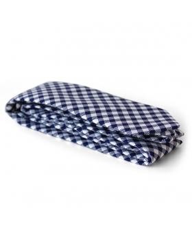 Gingham navy cotton tie