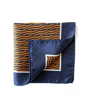 Blue Silk Pocket Square Brown Stripes