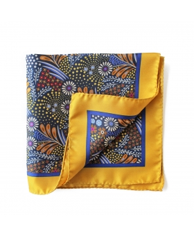 Yellow Silk Pocket Square Flowery Pattern