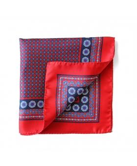 Red Silk Pocket Square Flowery Pattern