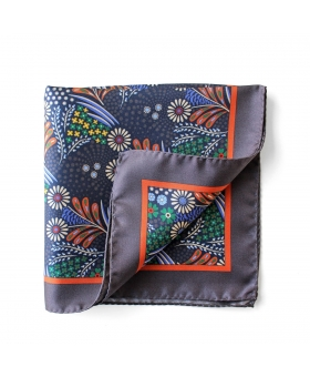 Grey Silk Flowery Pattern PocketSquare
