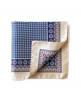 Beige Silk Pocket Square Flowery Pattern