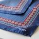 Pochette Costume Bleue Soie Fleurs