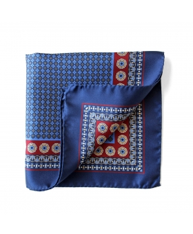 Blue Silk Pocket Square Flowery Pattern