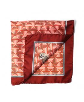 pochette costume en soie orange avec hibou