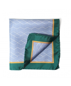 light blue pocket square with green borders and hedgehog