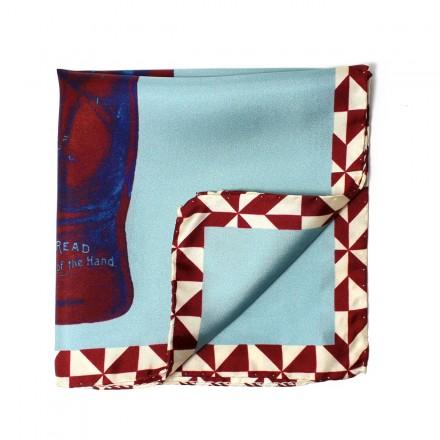 pochette costume bleu et bordeaux avec main
