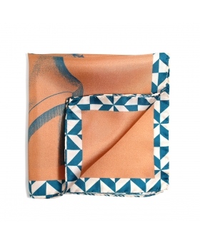 pink pocket square with green borders