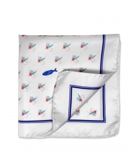 white silk pocket square with baits