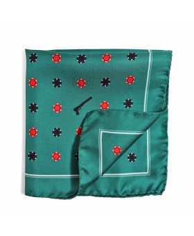 green silk pocket square with casino pattern
