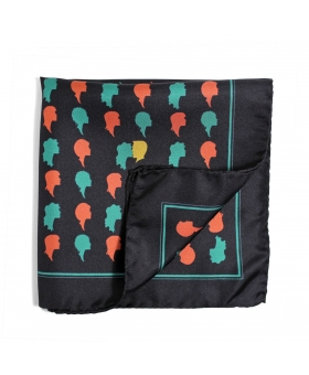 navy pocket square with faces pattern