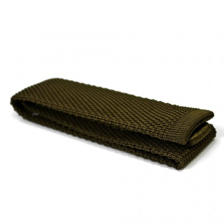 cravate en tricot de soie kaki