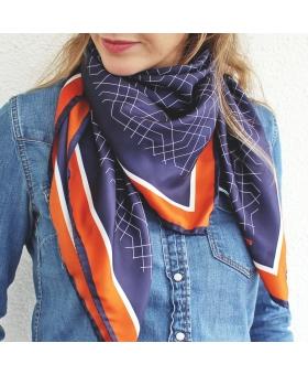 foulard en soie 90x90cm marine