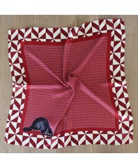 foulard en soie 90x90cm rouge