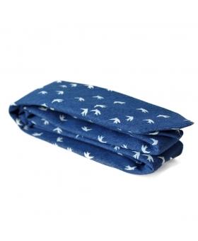 cravate bleu en coton motif oiseaux