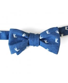noeud papillon en coton bleu
