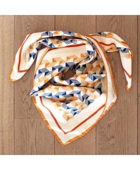 foulard en soie 90x90cm noir beige, bleu et orange pattern