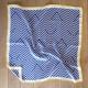foulard en soie 90x90cm bleu, blanc et jaune